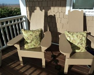Pollywood Adirondack Set of 2 chairs, taupe. Sunbrella pillows sold separately