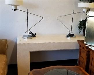 Mid-century modern lamps and console table