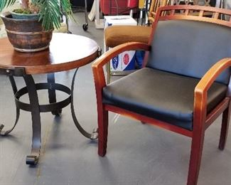 Great side chair or office chair or reading chair and metal and wood table