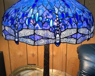 "24"" round shade, large stain glass lamp dragonfly"