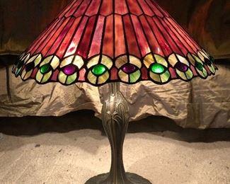 purple stain glass lamp