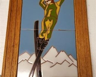 Whipple & Sibley Jackson Hole Wy  Painted Tile Trivet