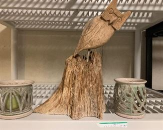 Great Owl from Stump with signed pottery votives