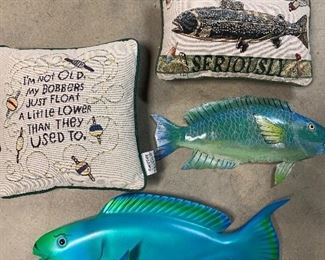 Signed Wood Fish hanging, metal fish and fishing pillows