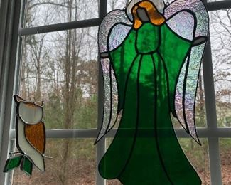 Stain glass owl and Angel