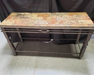 Metal sofa table with marble top