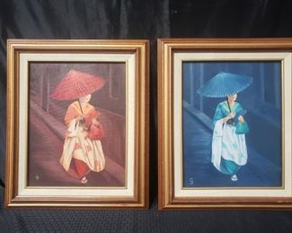 2 oil paintings of women wirh umbrellas by Glorian Beeson