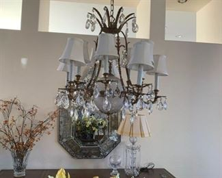 FRENCH CANDLESTICK LIGHT FIXTURE WITH CRYSTAL DROPS