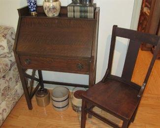 Mission tiger oak slant top desk
