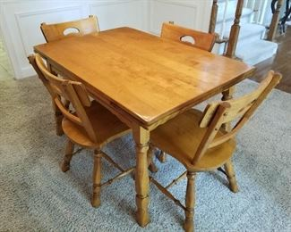 """Lot # 2 - (Same table as Lot # 1)$350  Vintage Dining Room Table & Four Chairs with pull out end leafs that pull up and then out to extend this beautiful table. (2 ft. 8 """" wide & 4 ft. long). This is the length with leafs pushed under.   Age is 60+ years. Perfectly maintained!"""