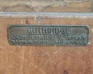 Guthridge Label for Lot # 4 Vintage Bar Cabinet
