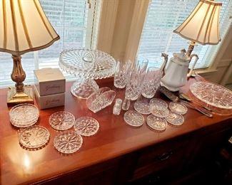 Gorham Crystal , Water Glasses,  Vintage Crystal Cake Plates