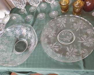 Etched Pattern Glass  Bowl and Platters