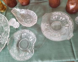 Fancy Etched Crystal serving dishes