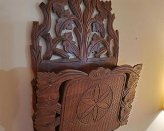 Antique hand made mail rack