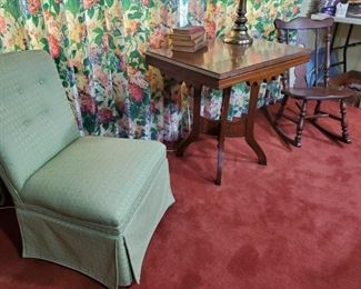 Petite green upholstered chair,  nice. 1800s table