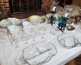 Divided crystal serving dishes