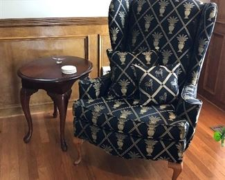 Pair of Wingback Chairs and Side Table