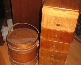 sewing chest and bucket