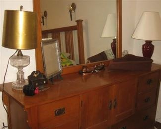 Bassett mission style dresser and mirror