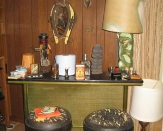 vintage rattan bar and stools