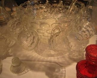 Fostoria punch bowl pedestal and 12 cups