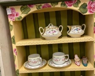Sweet floral cups and saucers and painted wood shelf
