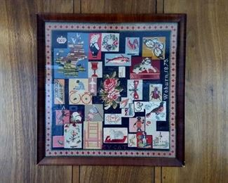 "Framed cross stitch sampler ""Woburn 1875"""