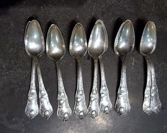 "12 Wm Rogers & Son AA Silverplate Grapefruit Fruit Spoons ""Sunkist"" 1910"