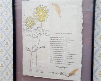 Poet, William Heyen framed signed and numbered Brockport Sunflowers poem