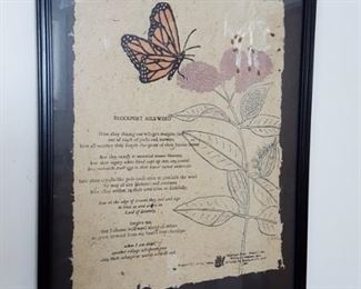 Poet, William Heyen framed signed and numbered Brockport Milkweed poem