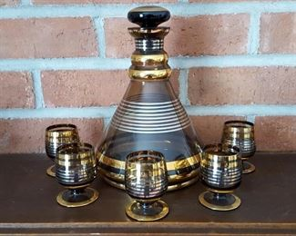 mid century gold and brown glass Decanter and Cordial Set