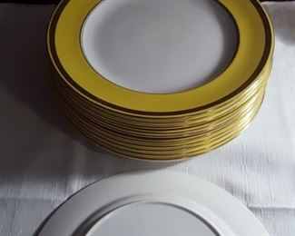 set of 12 Shelley dinner plates - excellent condition. Description: Gold Encrusted Band On Yellow Rim Pattern: 11286-31 by Shelley
