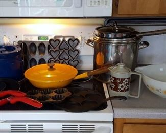 Le Creuset covered pan, Griswold , Copper pots and Copco Michael Lax Design Deep Fryer, Blue Enamel, Switzerland and Pyrex