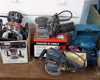 Many hand sanders and routers, Bosch, Porter Cable and Makita
