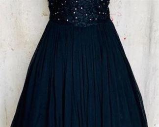 1950s Silk Chiffon Party Dress