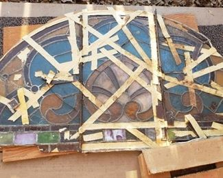 Antique stain glass panel with extra original glass in box, Stain Glass from The Old Red Courthouse in Dallas, Texas