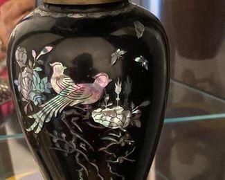 Vase mother of pearl enamel and metal 1960
