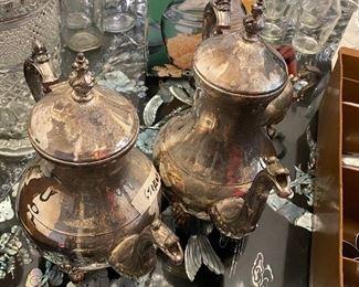2 silver teapots