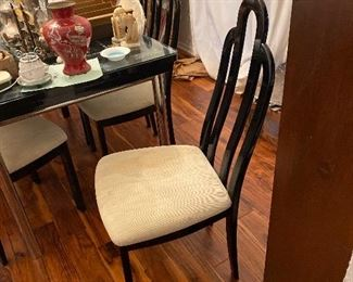 6 black lacquer chairs