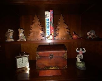 Brass tree bookends, solid wooden box and collectibles