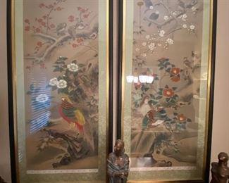 Silk  paintings by Lang Li entitled pheasants