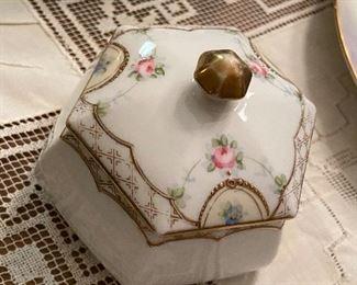 Antique hand painted sugar bowl