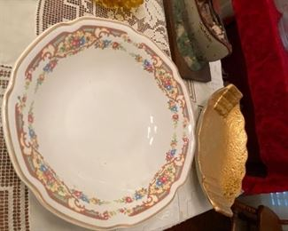 24 karat gold serving plate and China platter