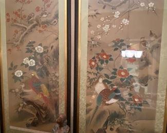 Silk paintings by Lange L I called pheasants