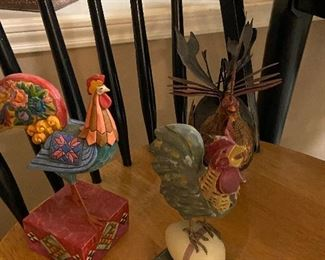 Silly roosters, painted roosters and roosters on an egg