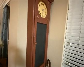 Antique wooden cabinet with Clock and chalkboard