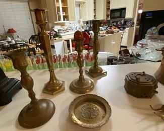 Brass candlesticks and ashtray