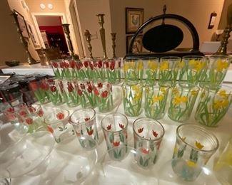 Vintage handpainted flower glasses