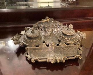 Antique double inkwell